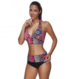 Glamorous Big Breast Bathing Suits Tropical Pattern